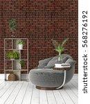modern bright interior . 3d... | Shutterstock . vector #568276192