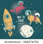 set for cosmic design  planet ... | Shutterstock .eps vector #568276702