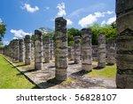 Mil Columnas Ruins at Chichen Itza - stock photo