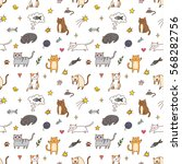 colorful seamless pattern with... | Shutterstock .eps vector #568282756