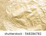 gold wrinkled paper texture... | Shutterstock . vector #568286782