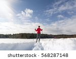 cross country skiing woman... | Shutterstock . vector #568287148