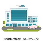 city hospital building cartoon... | Shutterstock .eps vector #568292872