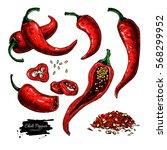 chili pepper hand drawn... | Shutterstock . vector #568299952