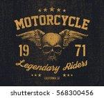 vector emblem retro old skull... | Shutterstock .eps vector #568300456