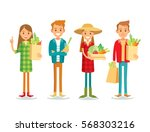 people with organic farm food | Shutterstock .eps vector #568303216