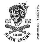 racing emblem with skull in... | Shutterstock .eps vector #568305442
