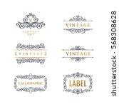 calligraphic luxury line logo... | Shutterstock .eps vector #568308628