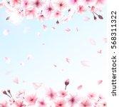 blooming cherry. spring... | Shutterstock .eps vector #568311322