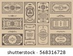 vintage set retro cards.... | Shutterstock .eps vector #568316728