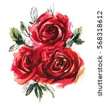 Stock photo red watercolor roses isolated on a white background hand drawn illustration 568318612