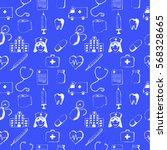 blue seamless pattern medical... | Shutterstock .eps vector #568328665