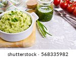 green mashed potatoes in a... | Shutterstock . vector #568335982