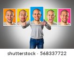 young man expressing different... | Shutterstock . vector #568337722