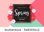 spring sale background with... | Shutterstock .eps vector #568345612