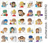 people face icons isolated on... | Shutterstock .eps vector #568350742