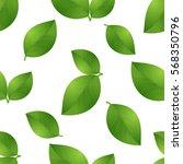 green seamless leaves isolated...   Shutterstock .eps vector #568350796