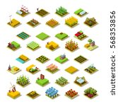 isometric farm house building... | Shutterstock . vector #568353856