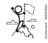 stickfigure goal mountain peak   Shutterstock .eps vector #568363066