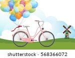 retro bicycle with colorful air ... | Shutterstock .eps vector #568366072