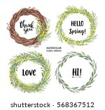 set of watercolor mimosa frames.... | Shutterstock . vector #568367512