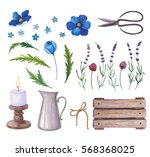 Watercolor Set Of Flowers ...