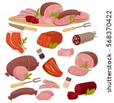 set of different kinds of meat... | Shutterstock .eps vector #568370422