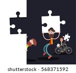 men with puzzle pieces on black ... | Shutterstock .eps vector #568371592