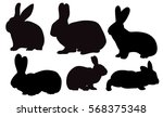 Stock vector vector isolated silhouette rabbits hares set 568375348