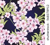 seamless pattern with japanese... | Shutterstock .eps vector #568378912