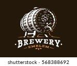 wooden beer barrel logo  ... | Shutterstock .eps vector #568388692