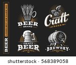 Stock vector set beer logo vector illustration emblem brewery design on black background 568389058