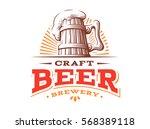wooden beer mug logo  vector... | Shutterstock .eps vector #568389118