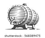 Wooden Beer Barrel   Vector...