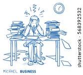 business man employee being... | Shutterstock .eps vector #568392532