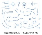 set of different thin straight... | Shutterstock .eps vector #568394575
