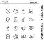 support and help flat icon set. ... | Shutterstock .eps vector #568395382