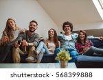 a group of friends having a... | Shutterstock . vector #568399888