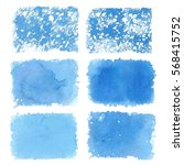 blue watercolor blotch. set of... | Shutterstock .eps vector #568415752
