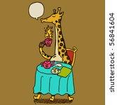 giraffe drinking hot tea - stock vector