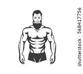 bodybuilder fitness model... | Shutterstock .eps vector #568417756