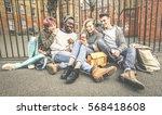 group of happy multiracial best ...   Shutterstock . vector #568418608