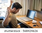 man sitting at the table...   Shutterstock . vector #568424626