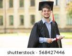 happy man portrait on her... | Shutterstock . vector #568427446