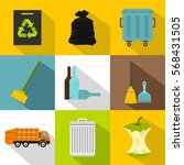 trash icons set. flat... | Shutterstock .eps vector #568431505