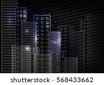vector city scene on night time.... | Shutterstock .eps vector #568433662