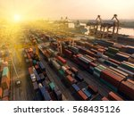 container container ship in... | Shutterstock . vector #568435126
