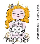 Stock vector little girl princess with a kitten in her hands t shirt graphics 568435246