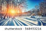 Beautiful Winter Sunset With...