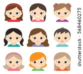 set of vector cute girls... | Shutterstock .eps vector #568460275